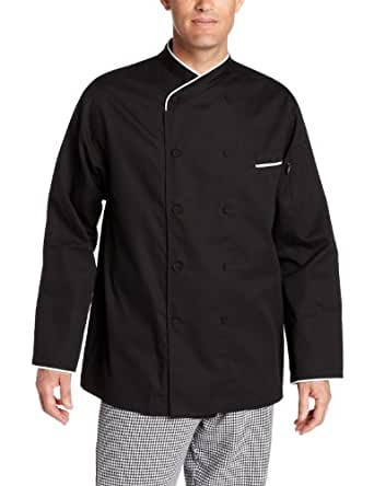 Dickies Men's Black Egyptian Cotton Chef Coat, Black, X-Small
