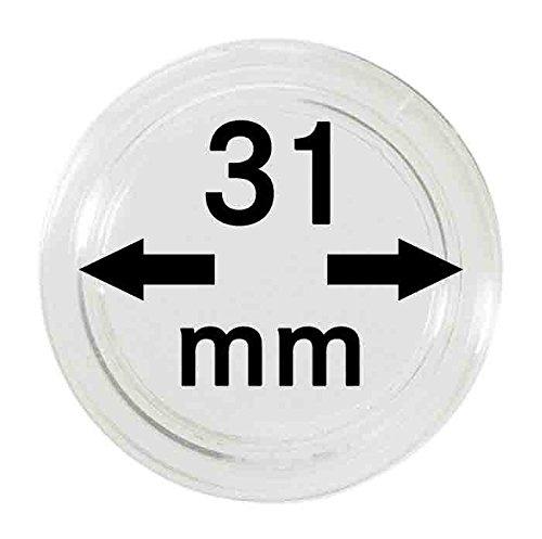 Capsules pour monnaies 31 mm (10 pièces) [Lindner 2250031] Polystyrène de qualité avec une surface très résistant aux rayures - Inner diameter: 31 mm