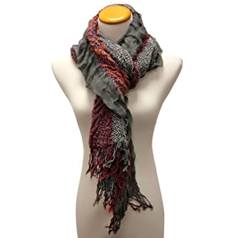 Luxury Divas Gray Victorian Styled Multicolor Ruffled Frill Scarf Wrap