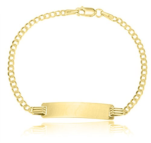 .925 Sterling Silver Childrens Figoro Link Engraveable ID Bracelet 5.50 inches