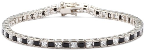 White and Black Cubic Zirconia Bracelet, Silver, 19cm Length, Model 8.25.4322