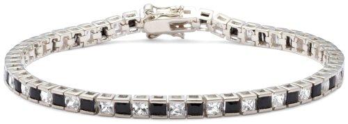White and Black Cubic Zirconia Bracelet, Silver, 19cm Length, Model 8.25.4322