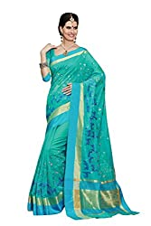 Laethnic blue floral design chanderi saree