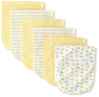 Gerber Unisex-Baby  6 Pack Terry Burpcloths Frog, Yellow, One Size