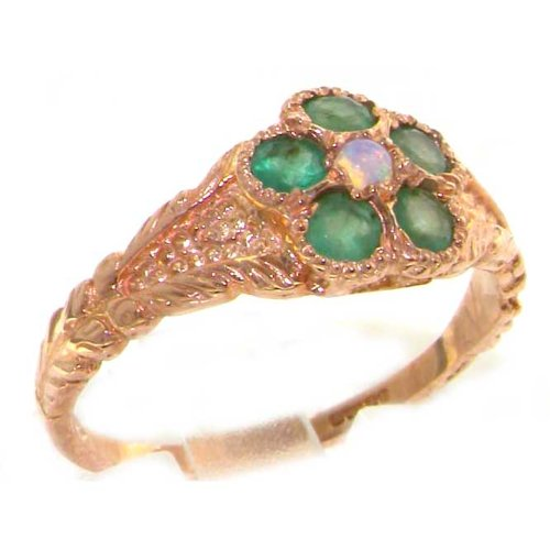 Luxury 9ct Rose Gold Ladies Fiery Opal & Emerald Vintage Style Cluster Ring - Size L 1/2 - Finger Sizes K to Z Available - Perfect gift for Anniversary, Engagement, Wedding, First Child