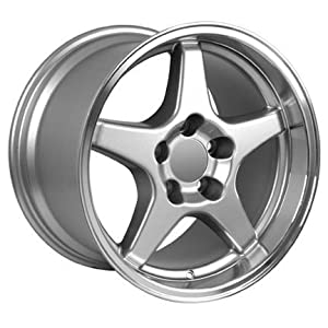 17″ Fits Corvette – ZR1 Style Replica Wheel – Silver Machined Lip 17×11