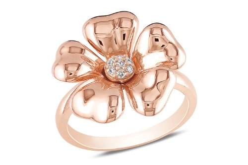 Pink silver 0.05 CT TDW Diamonds flower ring (G-H, I3)