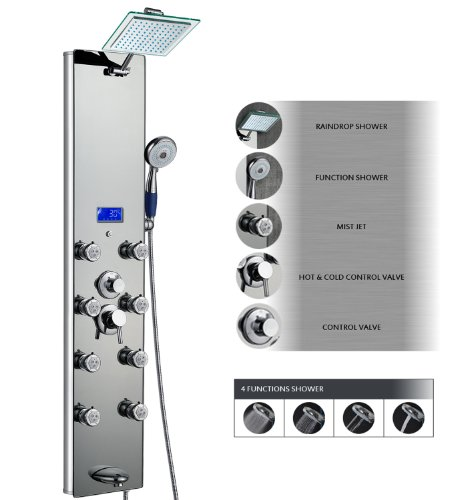 "Cheap AKDY 52"" Tempered Glass Aluminum Shower Panel Az787392M Rain Style Massage System."