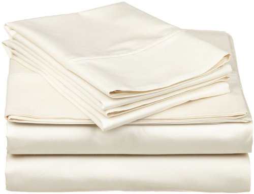 "500-Thread-Count Egyptian Cotton Super Soft Extra Deep Pocket Fitted Sheet/Bottom Sheet California King/ Western King Solid Ivory Fit Up To 25"" Inches Deep Pocket Fully Elastic All Around front-1029533"
