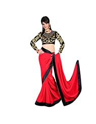 Janasya Fancy Velvet Border Saree With Heavy Embroidery Designer Velvet Blouse In Red Color