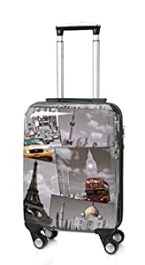 5 Cities Lightweight Hard shell Travel Luggage Suitcase- 4 Wheel Spinner Bag (21, Black/White)