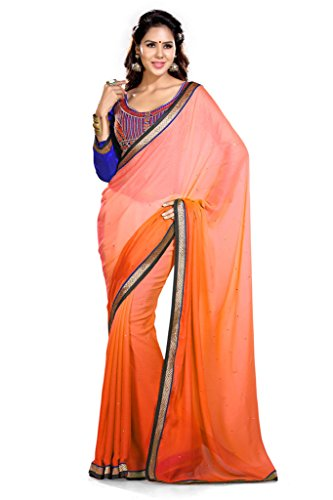 Sourbh Saree Orange Satin Chiffon Best Sarees for Women Party Wear