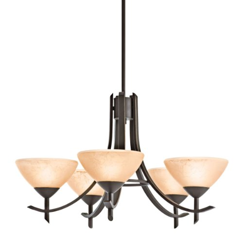 Kichler Lighting 10776OZ 5-Light 13-Watt Olympia Fluorescent Chandelier, Old Bronze