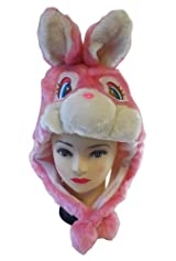 Plush Pink Rabbit Animal Hat - Rabbit Hat with Ear Flaps and Poms