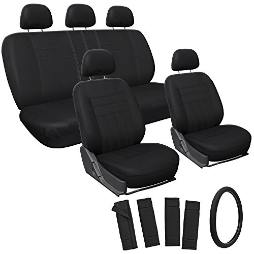 Oxgord 17pc Set Flat Cloth Mesh / Solid Black Auto Seat Covers Set - Airbag Compatible - Front Low Back Buckets - 50/50 or 60/40 Rear Split Bench - 5 Head Rests - Universal Fit for Car, Truck, Suv, or Van - FREE Steering Wheel Cover (2014 Dodge Ram Wheel Covers compare prices)