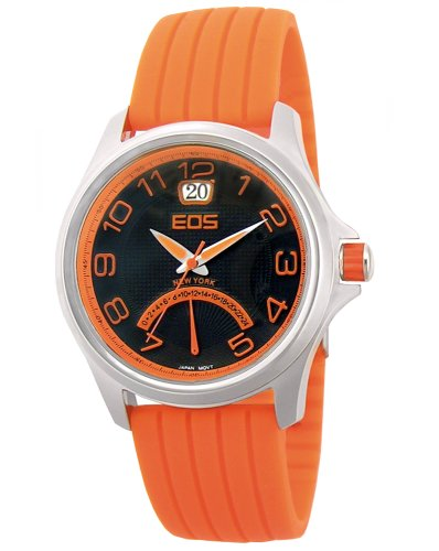 EOS New York Men's 15SORG Silicone Traveler Orange Strap Watch