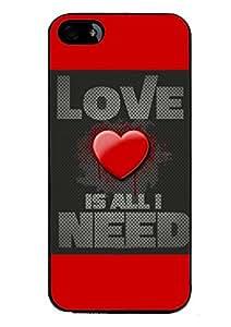 PRINTVISA Love is needed Premium Metallic Insert Back Case Cover for Apple Iphone 5 / 5G / 5S - D5778