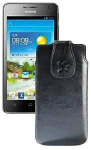Suncase Original Echt Ledertasche für Huawei Ascend G615 und Ascend G600 (Hülle mit Magnetverschluss) in wash-schwarz