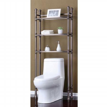 Best Living Monaco Bathroom Space Saver Etagere Shelf Brushed Titanium Quaddamooon
