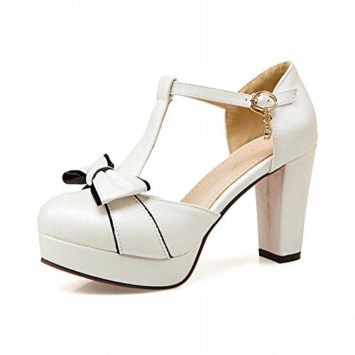 Lucksender Womens Round Toe High Heel Platform T-strap Sandals Pumps With Cute Bowknots 0