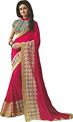 Priyam Creation New Designer Pink color Georgette fancy Party Wear Saree With Blouse Piece.