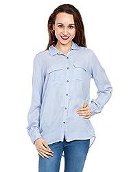 Kridh Women's Casual Shirt (ssbpc1003_ Light Blue_ Large)
