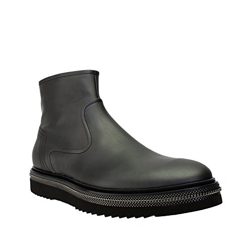 Alberto-Guardiani-Mens-Black-Leather-Side-Zippered-Ankle-Boot-WSilver-Trim