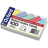 """Recycled Oxford Color-Pack Index Cards, Ruled, 3""""x5"""", 20 Each 5 Colors, 100/Pack ESS40280"""