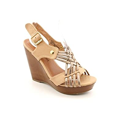 Madden Girl Klydee Womens Size 9.5 Nude Open Toe Wedge Sandals Shoes