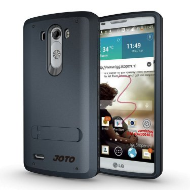 JOTO LG G3 Case - Hybrid Tri Layer Armor Cover Case with Kickstand (Flexible TPU + double Hard PC), Exclusive for LG G3 Smartphone (2014) ATT, Verizon, Sprint, T-Mobile, International and Unlocked (Dark Blue, Black)