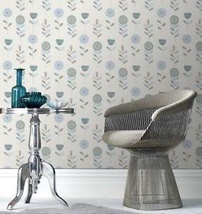 Modern Fresco Sketch Floral Wallpaper - Duck Egg by New A-Brend