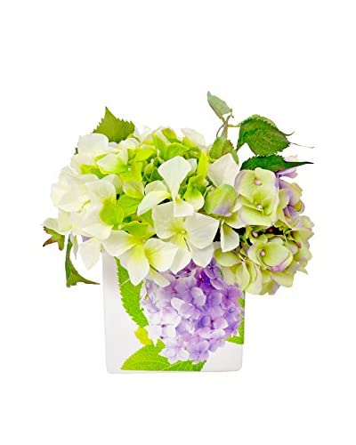 Creative Displays Inc. Pastel Hydrangea Ceramic Flower Planter, Lavender/White/Green