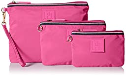 Tommy Hilfiger Nylon Three Set Pouch, Pink, One Size