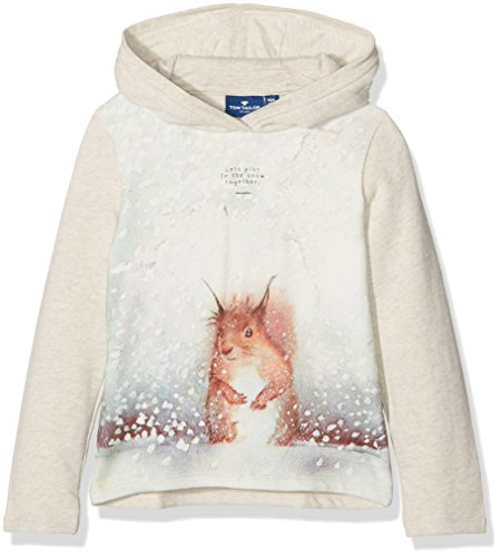 TOM TAILOR Kids Photo Print Sweatshirt, Felpa Bambina, Beige (Hot Sand Melange), 98 cm (Taglia Produttore: 92/98)