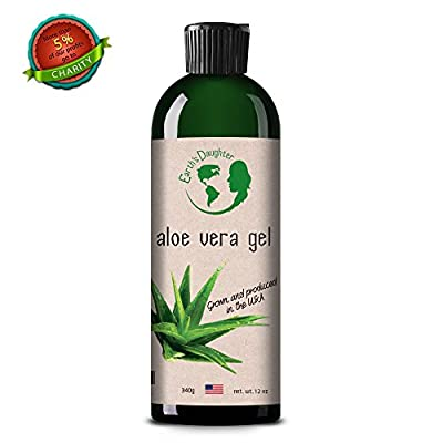 Aloe Vera Gel - 99.75% Pure, Cold Pressed, Organic Aloe Vera Skin Care - For All Types of Skin and Hair - Acne, Razor Bumps & Burn, Bug or Insect Bites - Irritated, Dry or Sunburned Skin - 12 fl.oz.