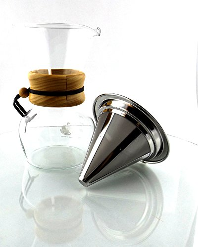 Zone - 365 Non-Electric Coffee Maker Pour Over Dripper with Stainless Steel Reusable Mesh Filter ...