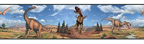 Lunarland Dinosaurs Wall Border Boys Room Decor Wallpaper Stickers Decorations T-Rex Decal