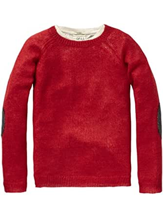 Scotch Shrunk Jungen Top 12440760507 - crewneck pull with inner tee, Gr. 128 (8), Rot (30 - red)