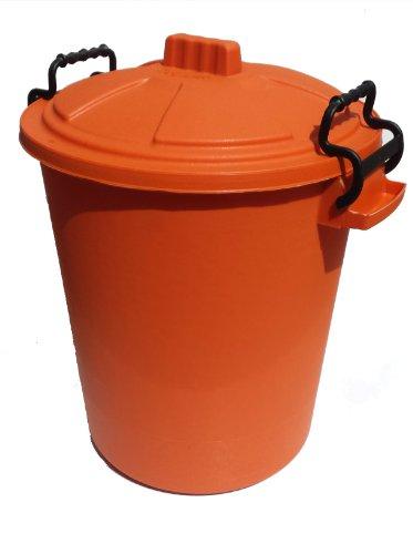 50L PLASTIC HANDLE ORANGE Garden Storage Dustbin Bin 50 Litre Refuse HEAVY DUTY