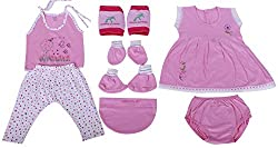 BORN BABY 8 PCS GIFT SET (6 - 12 months) (Baby Girls) (Pink)