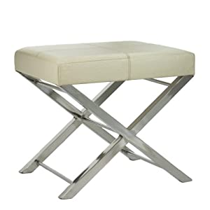 Lazy Susan Cream Ostrich Embossed Leather Bench, 20 x 16 x 18.5-Inches, Small