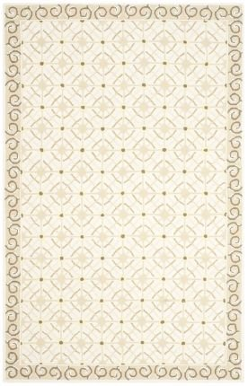 Safavieh Newport Collection NPT443C Hand-hooked Taupe and Beige Cotton Area Rug, 2 feet by 3 feet (2' x 3')