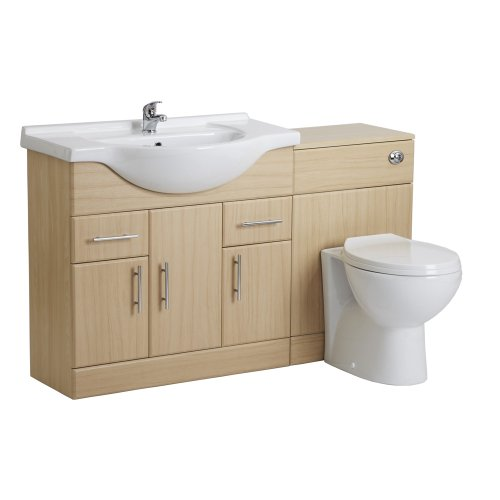Trueshopping 850mm Beech Bathroom Vanity Furniture Sink Basin & Toilet WC Set Pack
