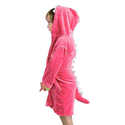Izzy & Roo Pink Dinosaur Hooded Bathrobe for Girls (1-3 Years)