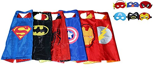 Kiddo Care- 6 Superhero costumes for kids, Capes, Felt Masks, Satin, Superhero Party Supplies for boys,Double sided layer,velcro (6 sets-Batman, Superman, Spiderman, Ironman, Captain America & Flash)