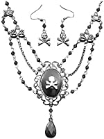 Pirate Cameo Necklace and Earring Set