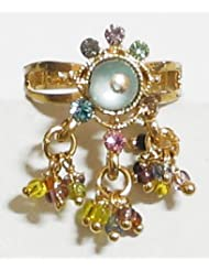 Majestic - Multicolor Stone And Beaded Adjustable Ring - Stone And Metal