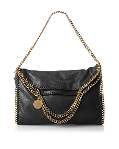 Stella McCartney Women's Shaggy Deer Small Foldover Tote with Gold Chain, Black, One Size