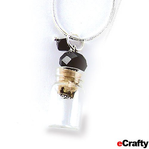 """Crystal Topped Wish Keeper Apothecary Bottle Snake Chain Necklace 1"""" Black front-77160"""