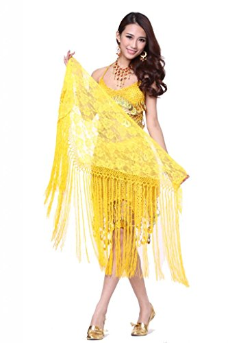 Feimei Women's Belly Dance Long Tassels Lace Triangle Hip Scarf